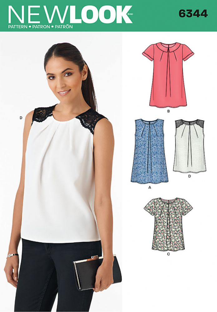 6344 new look pattern ladies pleat front top with sleeve and collar
